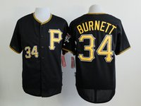 Wholesale Discount Black Uniforms - Pirates #34 A.J. Burnett Black Jerseys Newest Baseball Jerseys High Quality Sports Jerseys Discount Athletic Apparel Mens Uniforms for Sale