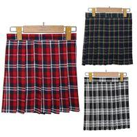 Wholesale Ladies Black Pleated Mini Skirt - Girls Lady Plaid Pleated Mini Skirt Uniform Skirt Cosplay Style S-XL Free Shipping