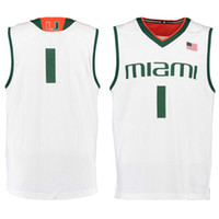 Wholesale Miami Embroidery - No.1 Miami Hurricanes College Basketball Jersey embroidery setback cheap Jerseys men size S-3XL fast shipping