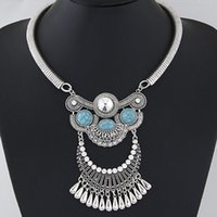 chunky türkis anhänger großhandel-2016 Chunky Halskette Frauen Wassertropfen Halsketten Anhänger Türkis Strass Richtungen Choker Aussage Halskette Collier