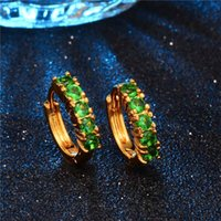 Atacado- SHUANGR New Arrival Gold-Color Hoop Earrings Round-Shape com verde Mixed Clear CZ Earrings For Women