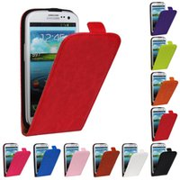 Wholesale Genuine Case Cover S3 - Cover For Samsung Galaxy S3 SIII Luxury Genuine Leather Flip Case For Samsung Galaxy S3 i9300 9300 Vertical PU Shell Phone Bags