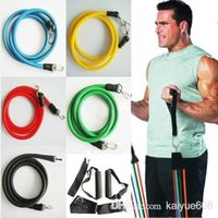 Wholesale Fitness Bands Workout - Promotion! High Quality 11Pcs Set Latex ABS Tube Workout Resistance Bands Exercise Gym Yoga Fitness Sets Outdoor Sports Supplies