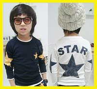 Wholesale fashion boy tops tees boys star Spring and autumn children s long sleeved T shirt kids clothes baby