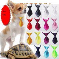 gravatas sólidas para cães venda por atacado-100 pçs / lote Nova Chegada Pet Dog Gravatas Bowtie Por Atacado Misturar Nova cor sólida silkPolyester Bonito Cão Bow Tie Dog Grooming produtos