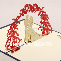 Wholesale Thank 3d - NEW 3D sweet handmade greeting card  Pop up cards Thank you card for wedding invitations 10pcs lot Free ship