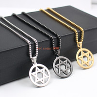 Wholesale David Star Pendant Necklaces - Hip-Hop jewelry With 2.4mm 24 inch box Chain Stainless Steel JEWISH star of David religion Pendant necklace 30mm size charms