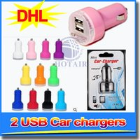 Wholesale Mini Usb Mobile Phone Charger - DHL Colorful Mini 2 USB Car Charger Universal Adapter 12V for iPod Touch iPhone Samsung mobile phone Good Quality With package