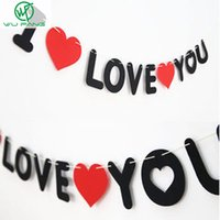 """Wholesale Banner Pull Up - Wholesale-Optimal Garlands""""I love you"""" Non-woven pull flower Banners Brace Propose Marriage Dress up casamiento decor Letter wedding Party"""