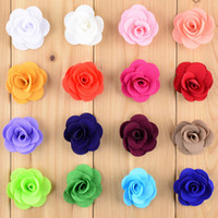 Wholesale Stock Flowers For Headbands - New Style 80pcs lot Dia.4CM Mini Hair Flower WITHOUT CLIP 16C In Stock Flat Back For Baby Girls Headband DIY Accessories