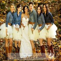 Wholesale Puffy Dresses For Cheap - 2016 Country Wedding Bridesmaids Tutu Tulle Skirt Puffy Adult Women Simple Cheap Mini Short Junior Girls Bridal Adult Tutus Skirts For Women