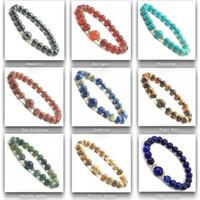 ingrosso round red beads-Braccialetto rosso naturale dell'agata di vendita calda, branelli rotondi del braccialetto di cristallo dei monili della pietra semi preziosa dei branelli 8MM per le donne e gli uomini 12pcs all'ingrosso