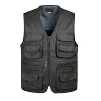 Wholesale Vest Army - Fall-Multi-Pocket Outdoor Camping Vest Men Photographer Gray Black Coffee Army Green Sport Sleeveless Sport Jacket Casual XXXL