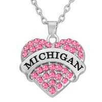 Wholesale Two Heart Rhinestone Charm - Cheap Factory Price Rhodium plated Two Color Crystal Heart Pendant Initial MICHIGAN Necklaces Pendant Jewelry Making