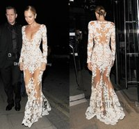 Wholesale Sexy Celebrity See Through Dress - Sexy Michael Costello Celebrity Evening Dresses 2017 Deep V Neck Long Sleeves Appliques Tulle See Through Illusion Nude White Prom Dresses