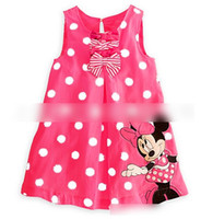 Wholesale Minnie Leisure - 2017 Summer Hot Sell! Girls Dots Printed Minnie Mouses Dress Chilren Cartoon Bowknots Sleeveless Petticoat Kids Girls Leisure Dressy E1181