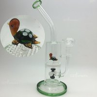 Wholesale tire perc bongs resale online - New Arrival Recycler Oil Rigs Glass Bongs Tire Style Vortex Water Pipes With Tortoise on Honeycomb Perc Bong Smooking Hoohak Pipe In Stock