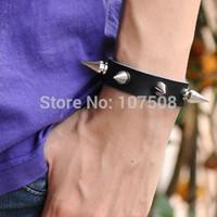 Wholesale Wholesale Bikers Belts - Wholesale-Punk Biker Rock Gothic Men's Women Black Coffee Leather Spike Metal Belt Buckle Bracelet
