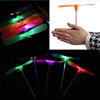 Wholesale Led Lighted Helicopter Wholesale - New Flash toys flash dragonfly luminous dragonflies Flying Helicopter Umbrella fairy colorful light Holiday Kids Gift Toy LED glow Light