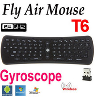 ingrosso trasporto libero del computer portatile del ridurre in pani-T6 Wireless Keyboard 2.4 GHz G-sensor Gyro Fly Air Mouse Mini Gaming Keyboard per Android TV Box PC Laptop Tablet Mini PC DHL LIBERA il trasporto