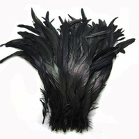 Natural Rooster Tail Feather 10PCS 35-40cm Black