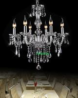 entrada de arañas modernas al por mayor-Candelabros de cristal modernos Comedor 6 luces Candelabro con colgantes de cristal Hall de entrada Candelabro Hogar de cristal Armas Candelabros