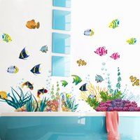 Wholesale Tropical Fish Stickers Decals - DIY Tropical Fish Nursery Room Cartoon Undersea World Wall Sticker Kids Room Decor Decal for Bathroom