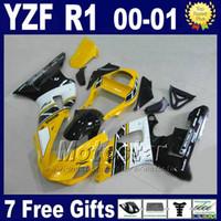 Wholesale yamaha r1 white body kit - Yellow white Body kit for YAMAHA 2000 2001 YZF R1 fairing kits OEM yzf1000 00 01 yzfr1 fairings set bodywork U7P4 + 7 gifts