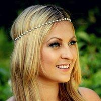 saç bandı mücevher ücretsiz gönderim toptan satış-Avrupa ve Amerika Birleşik Devletleri takı basit ve güzel Joker zinciri el yapımı inci hairband saç aksesuarları toptan ücretsiz kargo