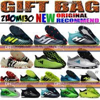 Wholesale Messi Football Boots - High Top ACE 17.1 Purecontrol FG Football Boots Indoor X 17 16 Purechaos Soccer Shoes Messi Nemeziz Soccer Cleats Predator Mania Champagne