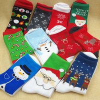 Wholesale 12 Pairs Christmas Socks - Wholesale-Free shipping 1 lot=12 pairs=24 pcs New Fashion Cotton Christmas Socks Gift Cartoon Santa Claus Girls Women's Sock Red White