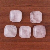 Wholesale Rose Cabochon White - 12mm Opal Rose Quartz Natural Stone beads Square Semi-precious Cabochon DIY Fashion Jewelry Making Accessories 30pcs