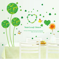 Wholesale Kitchen Door Glass Stickers - Fresh Green Clover Wall Stickers Home Decor Plant For Kitchen Decoration waterproof stickers floor glass bedroom door wall decor