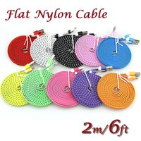 Wholesale 3m Knitting - 1M 3ft 2M 6ft 3M 10ft Noodle Flat Cable Fabric Braided USB Data Sync Cloth Woven Fiber Knitted Nylon Cord Cable for Mobile phone