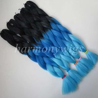 Barato Extensões Remy Azul Escuro-Kanekalon jumbo braid hair 24inch 100g Black + Dark blue + Light blue Ombre quatro tons XXpress Synthetic Braiding Hair Extensions