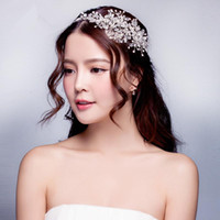 Wholesale Crystal Pearl Wedding Hair - 2015 Wedding Dresses Hair Accessories Korea Shining Wedding Bridal Crystal Veil Faux Pearls Tiara Crown Headband Hair Accessories for party