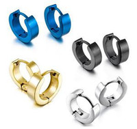Wholesale Gothic Earrings For Sale - 2015 Hot Mens Women Stainless Steel Hoop Ear Round Earrings Gothic Cool For Sale