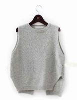 Wholesale-2015 New Cashmere Knit Vest Women Loose Plus Size O-Neck Pullover Sweater Vest Female Waistcoat Jacket