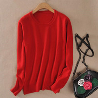 Wholesale Womens Long Sweater Xxl - Wholesale- Women Autumn Cashmere Blend Sweater O-Neck Pullovers Virgin Killer Long Sleeve Jumpers Womens Knitted Sweaters 15 Colors S-XXL