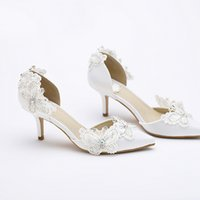 Wholesale Brides Mother Shoes - Kitten Heel Pointed Toe Bridal Shoes Women White Satin Pumps Butterfly Rhinestone Wedding Party Shoes Mother of the Bride Shoes