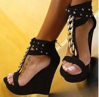 Wholesale Wedge Ankle Strap Platform Sandal - Plus Size 34 To 40 41 Gold Rivets T Strap Platform Wedge Shoes Women Sandals 15cm 2016