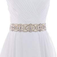 Wholesale Bride Children Dresses - 2018 S296 Crystal Rhinestones Bride Evening Party Gown Dresses Accessories Wedding Sashes Belt Waistband Bridal Belts Sashes