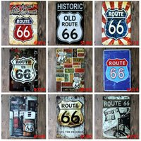 Wholesale Old Bar Signs - 2015 fashion 20*30cm US route old historic 66 retro Tin Sign Coffee Shop Bar Restaurant Wall Art decoration Bar Metal Paintings