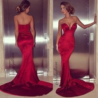 Wholesale Low Cut Red Prom Dress - Sexy Dark Red Satin Mermaid Prom Dresses Low Cut Sweetheart Sheath Court Train 2016 Cheap Tight Evening Dress Special Occasion Dresses