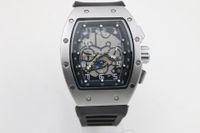 дешевые королевские синие пkers for windows оптовых-watchsell good Man 011 часы резиновый серебристый корпус большие часы 43mm автоматические часы