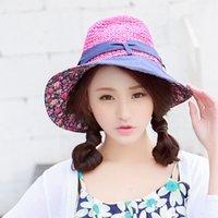 Wholesale Hats For Large Heads - Wholesale-maison michel Floppy summer straw sun hat for women's with head bow large brim wide ladies beach cap chapeu de sol free