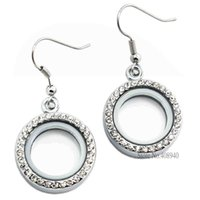 Wholesale Glass Locket Earrings - 1 pair !! 20mm Silver Round locket earrings glass floating charm locket Zinc Alloy(chains included for free) LSFL017-1*2