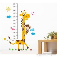 Wholesale Tall Nursery Stickers - 2016 New S5Q Giraffe Monkey Removable Vinyl Wall Decal Stickers Kids Height Chart Measure Foot tall wall stickers children's room