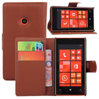 Wholesale Lumia 925 Case Leather - New Litchi Flip Wallet PU Leather Cover Cases With Credit Card Slots Stand For Nokia Lumia 520 530 630 635 730 830 925 1030 Nokia XL