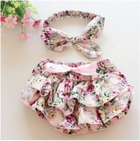 Wholesale Chinese Outfits - Floral Baby Bloomer Set,Baby Ruffle Bloomer Headband Set,Newborn ruffle diaper cover,baby photo outfit 1set